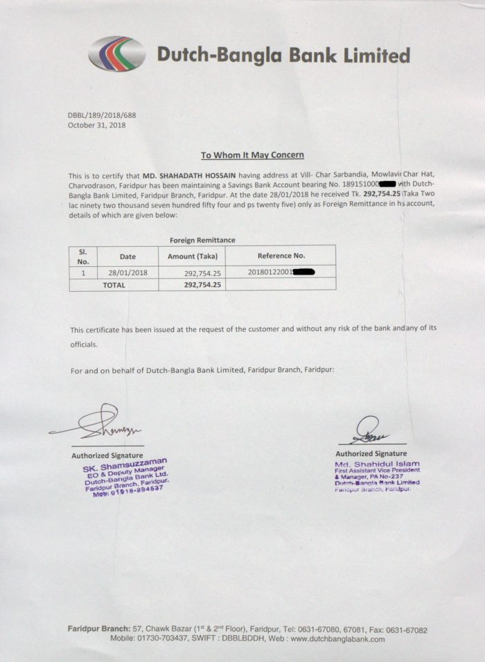Dutch-Bangla Bank Remittance Certificate